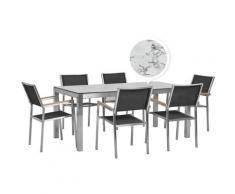 Set tavolo da giardino effetto marmo 180 cm e 6 sedie tessuto nero GROSSETO