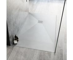 Piatto doccia 80 x 120cm marmoresina bianco opaco antiscivolo ultraslim h 3,2cm