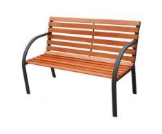 Panchina in acciaio e legno viale arredo esterno cm 122x64x80h