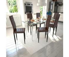 Set 6 sedie da tavola marrone linea sottile con 1 tavolo vetro - Marrone