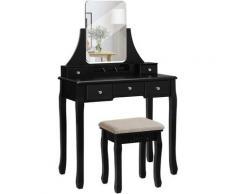 VASAGLE Toletta, Tavolo da Trucco con Grande Specchio Senza Cornice per Il Make Up, 5 Cassetti e