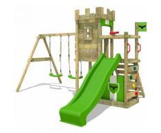 FATMOOSE Parco giochi in legno BoldBaron Giochi da giardino con altalena e scivolo mela verde