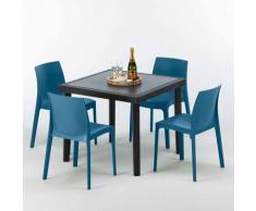 Tavolino Quadrato Nero 90x90 cm con 4 Sedie Colorate ROME PASSION | Blu