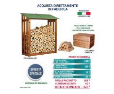 Acquista in Fabbrica Offerta Eccezionale Portalegna Legnaia Verde + Panca Cassapanca MADE IN ITALY