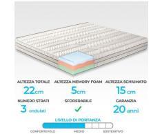 """Materasso """"Como"""" in memory foam MyMemory termico 3 strati e 7 zone differenziate 120x190"""