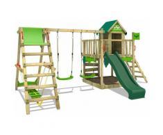 FATMOOSE Parco giochi in legno JazzyJungle Giochi da giardino con altalena SurfSwing e scivolo