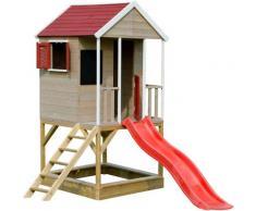 Casetta da giardino bambini sulla piattaforma con scivolo Avventura Estiva - Rosso