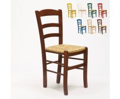 Sedia in legno e seduta impagliata per cucina bar e trattoria rustica PAESANA | Marrone Noce