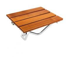 PrimeMatik - Sedile per doccia pieghevole. Sgabello per anziani in legno tropicale e alluminio