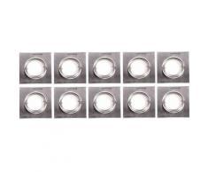 Set di 10 faretti a LED da incasso a soffitto plafoniere in alluminio lampade da pranzo quadrate