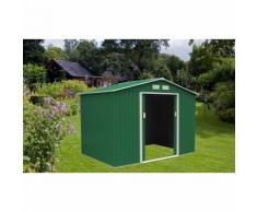 Casetta ricovero porta attrezzi box in lamiera capanno giardino 277x191x202h - Salone