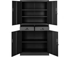 Armadio portadocumenti con 2 cassetti - cassettiera portadocumenti, armadio 2 ante, armadio ufficio