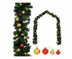 Ghirlanda di Natale Decorata con Palline e Luci a LED 10 m