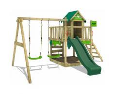 FATMOOSE Parco giochi in legno JazzyJungle Giochi da giardino con altalena e scivolo verde Casetta