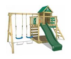 WICKEY Parco giochi in legno Smart Cave Giochi da giardino con altalena e scivolo verde Casetta da