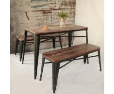 Tavolo da pranzo da cucina in legno di pino naturale antico iKayaa con struttura in metallo e
