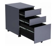 Cassettiera da Ufficio, Mobiletto con Ruote per Documenti e Cancelleria, Pre-Assemblato, con 3
