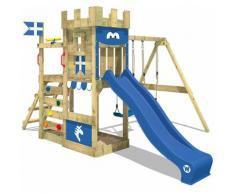 WICKEY Parco giochi in legno RoyalFlyer Giochi da giardino con altalena e scivolo blu Torre