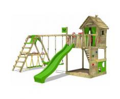 FATMOOSE Parco giochi in legno HappyHome Giochi da giardino con altalena SurfSwing e scivolo mela