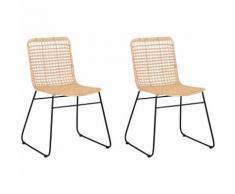 Set di 2 sedie da pranzo in rattan color naturale BERITO