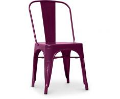 Sedia stile Tolix sedile quadrato - Nuova Edizione - Metallo Viola
