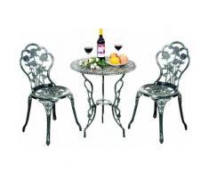 Set di 3 Pezzi Tavolo da Giardino con 2 Sedie, Set di Mobili da Balcone, 1 Tavolo e 2 Sedie,