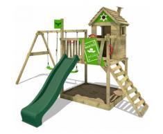 FATMOOSE Parco giochi in legno RockyRanch Giochi da giardino con altalena e scivolo verde Casa su