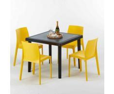 Tavolino Quadrato Nero 90x90 cm con 4 Sedie Colorate ROME PASSION | Giallo