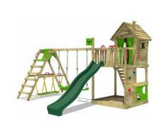FATMOOSE Parco giochi in legno HappyHome Giochi da giardino con altalena SurfSwing e scivolo verde