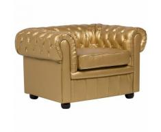 Poltrona in pelle sintetica color oro CHESTERFIELD