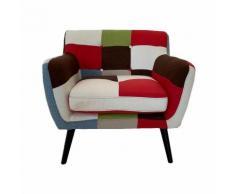 Poltrona in tessuto patchwork 84 cm con gambe in legno massello seduta imbottita