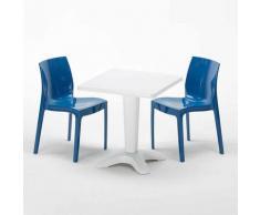 Tavolino Quadrato Bianco 70x70 cm con 2 Sedie Colorate ICE PATIO | Blu