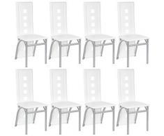 8 pcs - sedie sala da pranzo, sedie da pranzo - Bianco