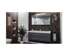 Set da bagno Damo 130 Armadio a specchio & Carrara-marmo 1 foro in antracite