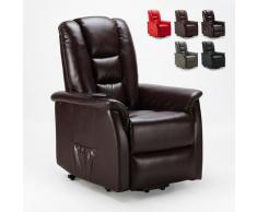 Poltrona relax reclinabile sistema alzapersona in similpelle design JOANNA FIX | Colore: Marrone