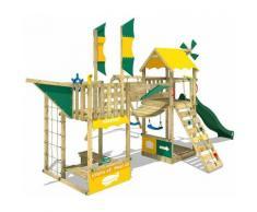 WICKEY Parco giochi in legno Smart Wing Giochi da giardino con altalena e scivolo verde Casetta da