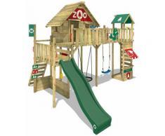 WICKEY Parco giochi in legno Smart Ranger Giochi da giardino con altalena e scivolo verde Casa su