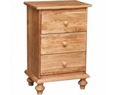 Comodino Country in legno massello di tiglio finitura naturale L50xPR35xH70 cm. Made in Italy