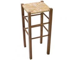 Savino Filippo - Sgabello quadrato in legno di faggio noce marrone seduta in paglia per salotto