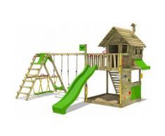 FATMOOSE Parco giochi in legno GroovyGarden Giochi da giardino con altalena SurfSwing e scivolo