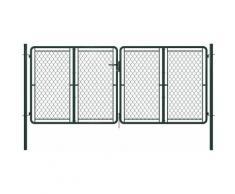 Cancello di Recinzione per Giardino in Acciaio 300x125 cm Verde - Verde - Youthup