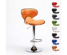 Superstool - Sgabello per cucina e bar Amarillo Design Moderno girevole cromato | Arancione