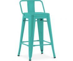 Sgabello da bar Tolix con schienale basso Pauchard Style - 60cm Pastel green