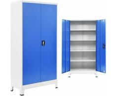 Armadio per Ufficio in Metallo 90x40x180 cm Grigio e Blu