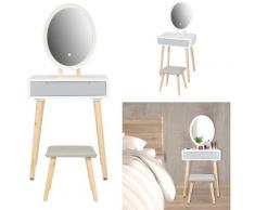 Tavolo da Trucco Mobili Toeletta Trucco con Luci 1 Cassetto con Specchio Ovale grigio - bianco