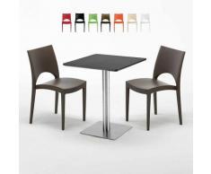 Tavolino Quadrato 60x60 cm Base in Acciaio e Top Nero con 2 Sedie Colorate PARIS PISTACHIO | Marrone