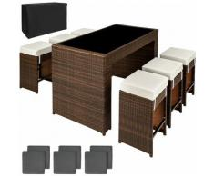 set da bar in rattan Capri - tavolo bar, sedie rattan, sedie da bar - marrone