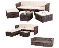 Lounge Garden Set Rattan Mobili Rattan Polyrattan Sedute Set Divano Tavolo 2 Sgabelli marrone