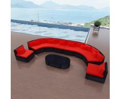 Set Divani da Giardino 11 pz con Cuscini in Polyrattan Rosso - Rosso - Vidaxl