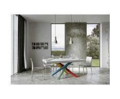 Itamoby S.r.l. - Tavolo Volantis Allungabile piano Bianco Lucido 90x160 allungato 420 telaio 4/B